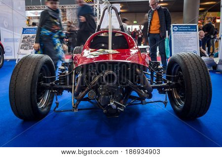 STUTTGART GERMANY - MARCH 03 2017: Formula Vee racing car (1965-1973). Rear view. Europe's greatest classic car exhibition
