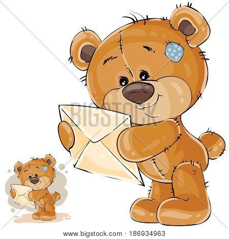 Vector illustration of a brown teddy bear holding in its paws received letter. Print, template, design element