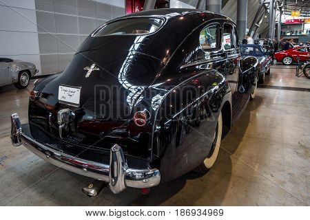 STUTTGART GERMANY - MARCH 03 2017: Full-size car Chrysler Royal Windsor 1940. Rear view. Europe's greatest classic car exhibition