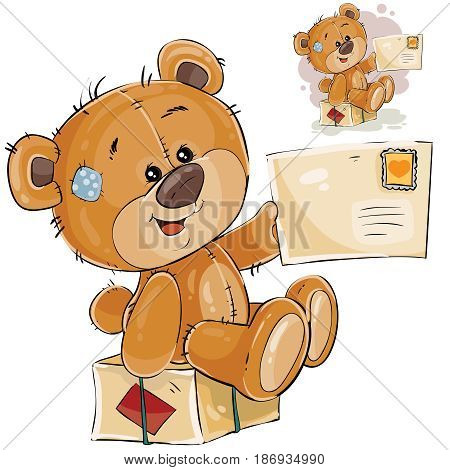 Vector illustration of a brown teddy bear sitting on a postal parcel and holding in its paw received letter. Print, template, design element