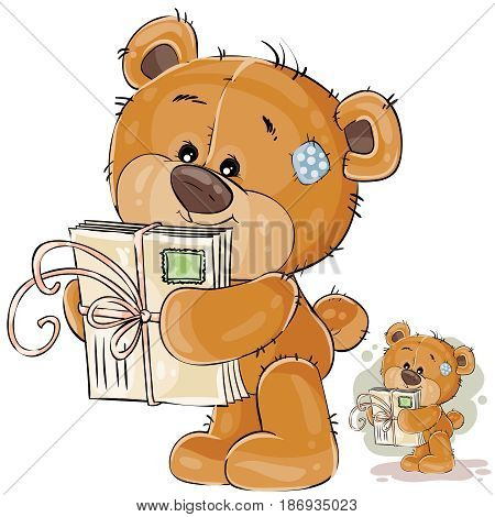 Vector illustration of a brown teddy bear holding in its paws received letters. Print, template, design element