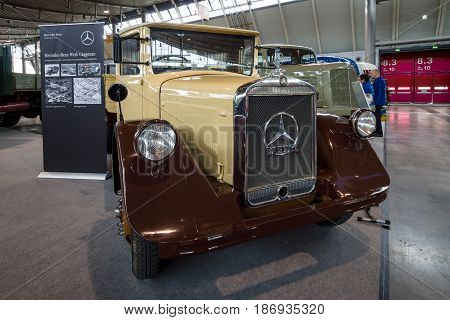 STUTTGART GERMANY - MARCH 03 2017: Light truck Mercedes-Benz Lo 2000 1935. Europe's greatest classic car exhibition