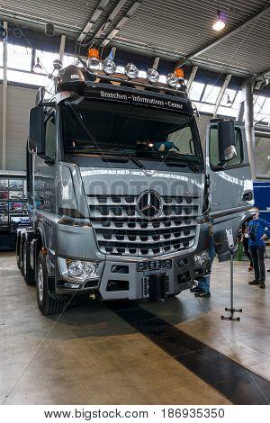 STUTTGART GERMANY - MARCH 03 2017: Heavy duty truck Mercedes-Benz Arocs SLT 4163 2016. Europe's greatest classic car exhibition