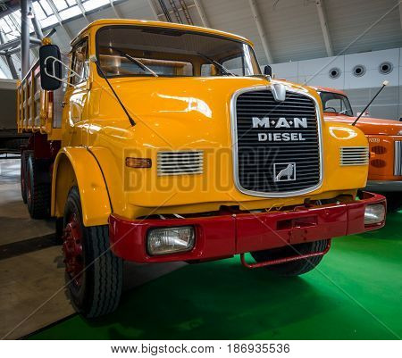 STUTTGART GERMANY - MARCH 03 2017: Truck MAN 19.230 DHAK 6x6 Allroad 1970. Europe's greatest classic car exhibition