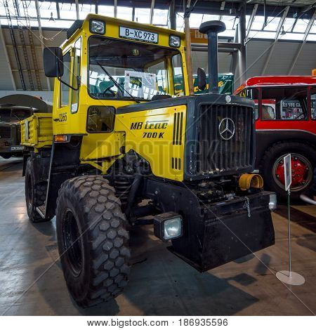 STUTTGART GERMANY - MARCH 03 2017: Tractor Mercedes-Benz MB-Trac 700 K 1987. Europe's greatest classic car exhibition