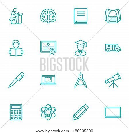 Set Of 16 Education Outline Icons Set.Collection Of Calculator, School Board, Learning And Other Elements.