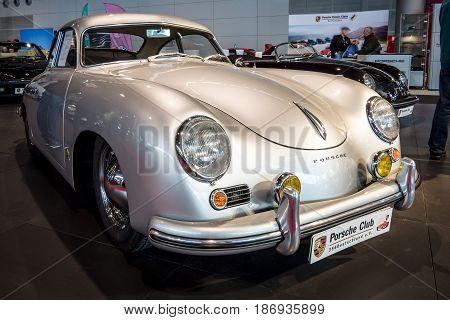 STUTTGART GERMANY - MARCH 03 2017: Luxury sports car Porsche 356 1955. Europe's greatest classic car exhibition