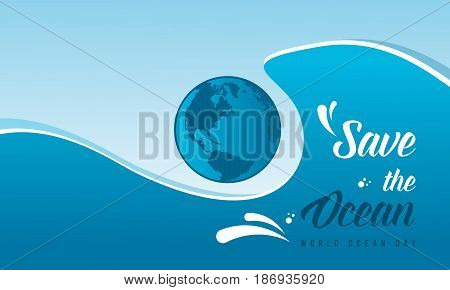 Collection stock world ocean day background style illustration