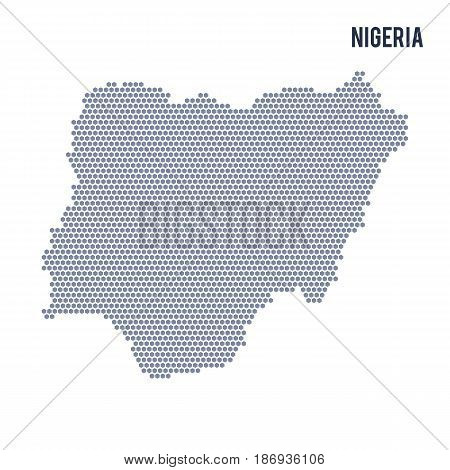 Vector Hexagon Map Of Nigeria On A White Background