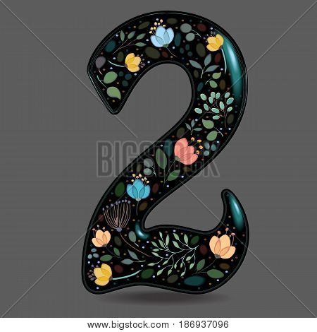 Number Two with Floral Decor. Black glared numeral. Colorful graceful flowers plants and blurs with watercolor effect. Gray background. Vector Illustration