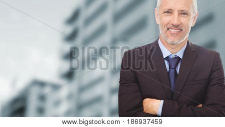 Digital composite of Composite image of old businessman