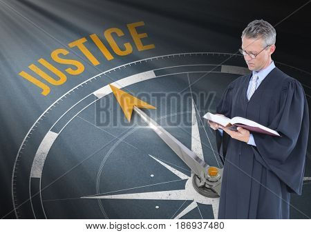 Digital composite of Judge holding book in front of justice text and compass