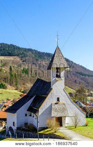 Mountain landscape and church Zum Guten Hirten by Ramsau in Bavaria
