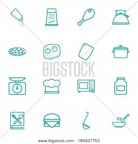 Set Of 16 Cooking Outline Icons Set.Collection Of Soup, Pan, Ladle And Other Elements.