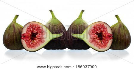 Panoramic image of purple figs studio isolated on white background