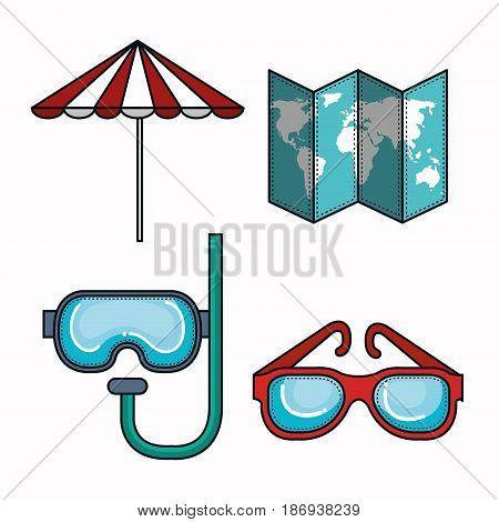 Umbrella, map, snorkel and glasses over white background. Vector illustration.
