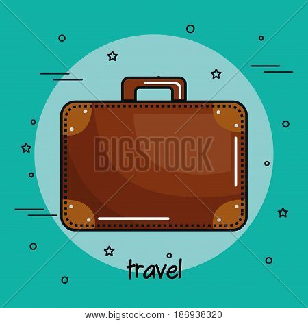 Brown suitcase over teal background. Vector illustration.