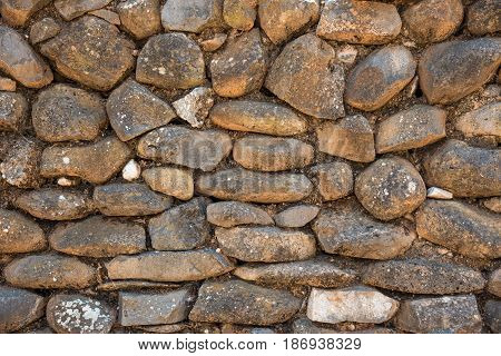 Background of stone wall in Shivta - ancient city in the Negev Desert Israel Excavations of an ancient stone wall
