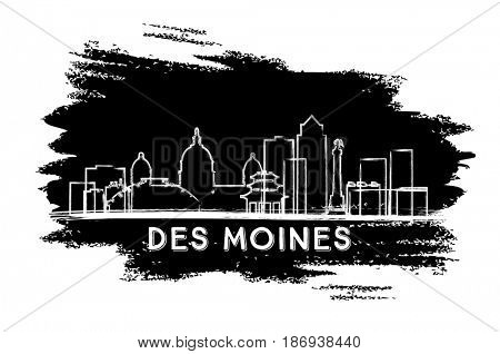 Des Moines Skyline Silhouette. Hand Drawn Sketch. Business Travel and Tourism Concept with Historic Architecture. Image for Presentation Banner Placard and Web Site.