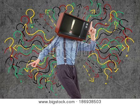 Digital composite of Happy boy dancing, tv face