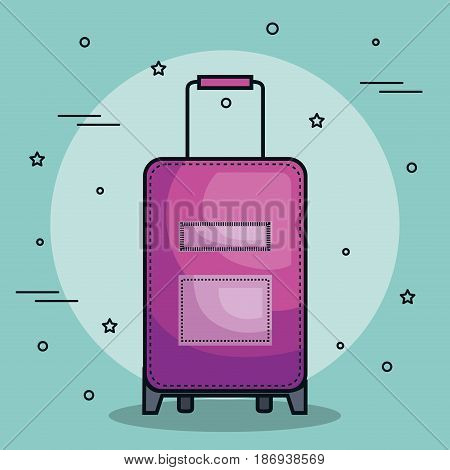 Purple suitcase over teal background. Vector illustration.