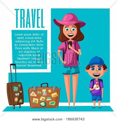 Happy family in travel. Journey of mom and son. Cartoon vector illustration. Character design on travelers. Family having summer holidays trip. People ready for sightseeing tour. Travelling together