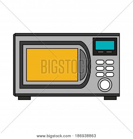color image cartoon microwave oven element kitchen vector illustration