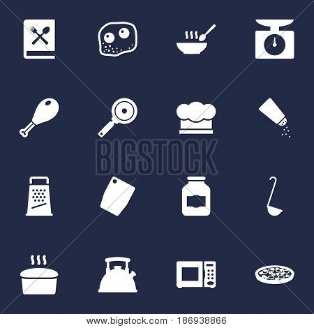 Set Of 16 Cooking Icons Set.Collection Of Jar, Kitchen Rasp, Weighing Machine And Other Elements.