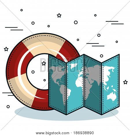 Lifesaver and map over white background. Vector illustration.