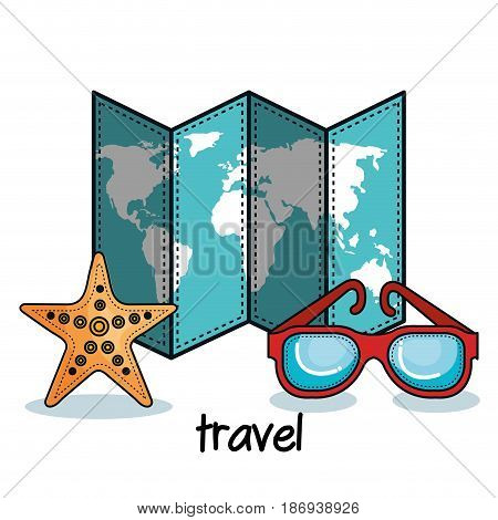 Starfish, map and glasses over white background. Vector illustration.