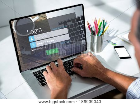 Digital composite of Men with laptop on the desk. Screen with login