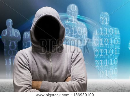 Digital composite of Grey jumper hacker with his hands folded, binary code people background