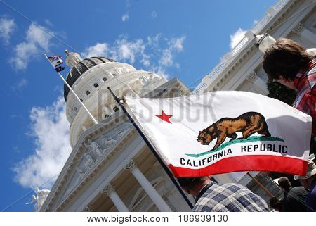 SACRAMENTO, CALIFORNIA, USA - February 26, 2011: Labor union supporter carries California state flag at the California State Capitol during