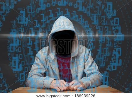 Digital composite of Red t shirt hacker with out face in the desk