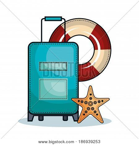 Suitcase, lifesaver and starfish over white background. Vector illustration.