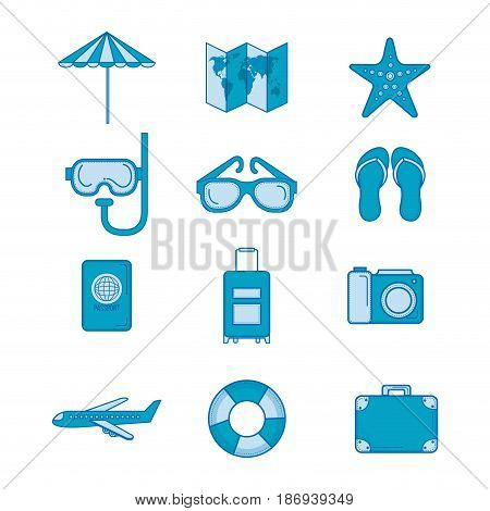 Set of blue objects related to traveling. Vector illustration.