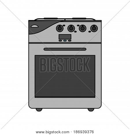 color image cartoon stove gas with oven vector illustration