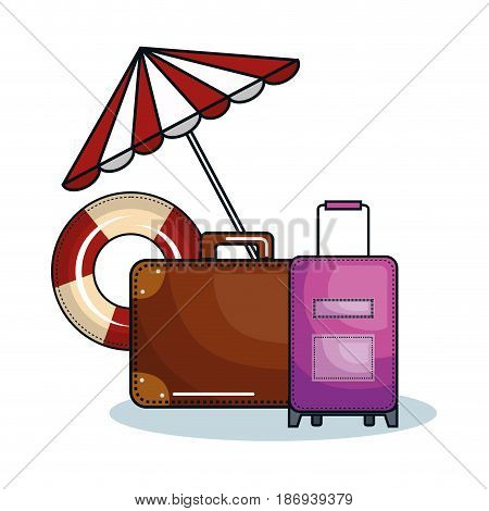 Suitcases, umbrella and lifesaver over white background. Vector illustration.