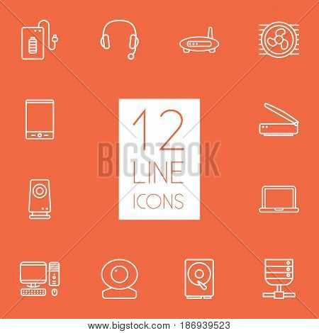 Set Of 12 Notebook Outline Icons Set.Collection Of Scanner, Tablet, Headphone And Other Elements.