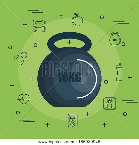 10kg kettlebell with hand drawn objects related to exercise over green background. Vector illustration.