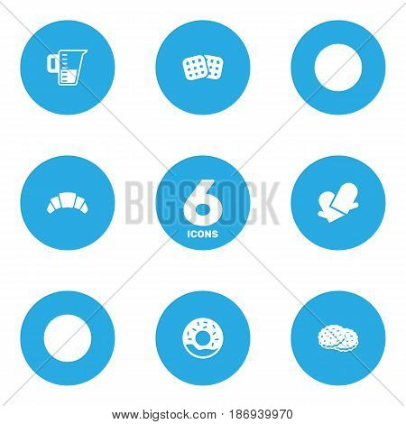 Set Of 6 Oven Icons Set.Collection Of Doughnut, Shortcake, Dessert And Other Elements.