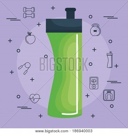 Green exercise bottle with hand drawn objects related to exercising over pruple background. Vector illustration.
