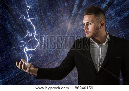 Business Man And Lightning
