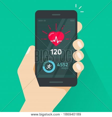 Heartbeat indicator on mobile phone screen, pulse meter with heart beat and running activity information, fitness health app on cellphone and walking steps counter vector illustration