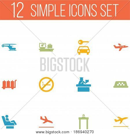 Set Of 12 Airplane Icons Set.Collection Of Metal Detector, Leaving, Aircraft And Other Elements.