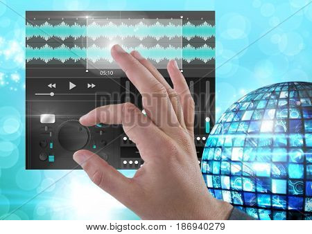 Digital composite of Hand Touching Sound Music Player and Audio production engineering equalizer App Interface