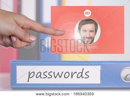 Digital composite of Hand Touching Identity Verify passwords App Interface