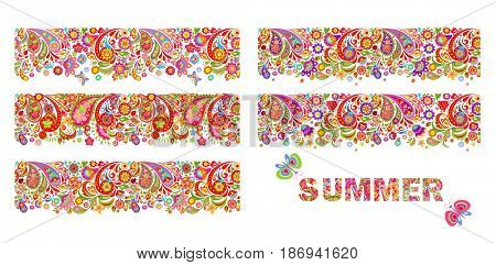 Summery colorful floral borders collection and print with summer flowers lettering