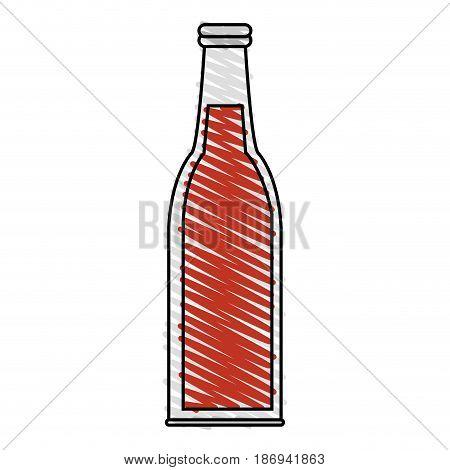 color crayon stripe cartoon bottle glass of refresh beverage vector illustration