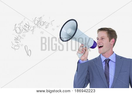 Digital composite of Digital composite image of businessman talking on megaphone emitting letters against white backgroun